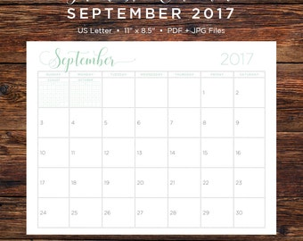 September 2017 Calendar | September 2017 | September | Calendar | Printable Calendar | Printable | Monthly Calendar | 2017| Instant Download