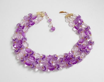 Purple Bead Necklace , Signed West Germany , Lucite Flower Wavy Beads , Light and Dark Purple Vintage Triple Strand Necklace