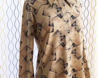 Vintage 70s beige atomic shirt/ abstract geometric print/ earthy tones office shirt