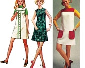 """1970 LEARN to SEW pattern, Easy A-line Mini Dress or Jumper, Contrast Fabric & Trim Options, Patch Pockets, Simplicity 8963, Bust 38"""" Uncut"""