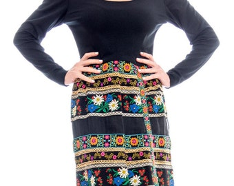 1960s Ethnic Embroidered Mini Dress Size: S