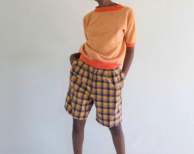 Orange Plaid Culotte Shorts