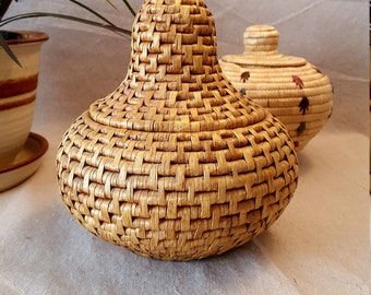 Lovely Coiled Cache Basket w/Lid/Woven Catch-All Storage Planter Decor