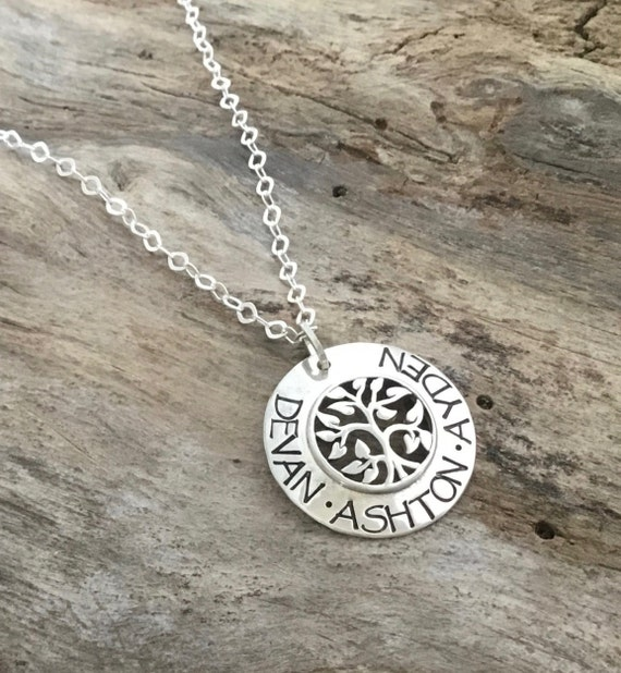 Family Tree Name Necklace/FamilyTree Necklace/Tree of Life Necklace/Personalized Silver Tree Necklace For Mom/Gift from Bride to Mom