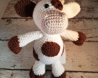 Crochet Cow Stuffed Animal - Cow Doll - Farm Animals - Farm Nursery - Amigurumi - Crocheted Cow - Cow Plush - Baby Photo Prop - Cow Decor