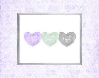 Purple, Mint and Gray Print, Triplets Gift, Lavender and Mint Nursery Art, 8x10 Print, Mint and Lavender Decor, Brother Sister, Siblings