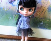 Purple cable knitted sweater for blythe and similar size dolls