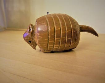 Tiny Hand Carved Armadillo from Nut, Wood Ornament, Texas Mexico Figurine