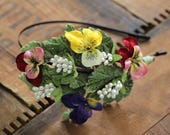 """Pansy Headpiece, Flower Headband for Women, Floral Hair Band, Vintage Style Pansies - """"Pick Me a Posy"""""""
