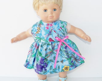 """bitty baby clothes doll girl 15"""" or 18"""", easter, blue pink purple yellow green, sleeveless dress flower floral ,handmade adorabledolldesigns"""