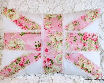 "Pink Roses UNION JACK Pillow, 14""X20"", Shabby Roses Pillow, Union Jack, Frayed Pillow, Pink Roses Pillow, Roses Decor, SWEET!!!!"