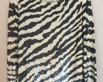 Vintage Iridescent Zebra Sequin Top