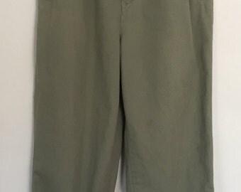 Vintage Army Green Hight Waist Pleated Pants