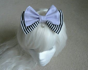 Lavender and Stripes Moon Charm Hair Bow- Kawaii- Gothic- Pastel Goth- Gothic Lolita- Sweet Lolita Harajuku- Fairy Kei- Creepy Cute