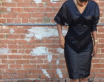 Vintage Black Genuine Deep V Line Leather BodyCon Mini Dress