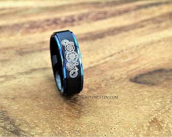 8mm tungsten ring doctor who inspired black satin finish with deep ocean blue step - Doctor Who Wedding Ring