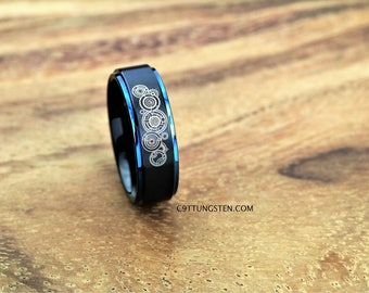 8mm tungsten ring doctor who inspired black satin finish with deep ocean blue step - Dr Who Wedding Ring