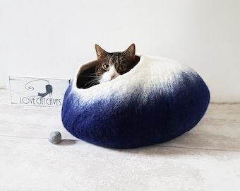 Dark Blue Cat Cave Bed / Cat Cave / Cat House / Pet Bed / Cat Lovers Gift with free Ball