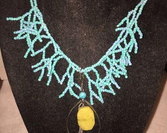 Teal Coral Necklace with Yellow Stone