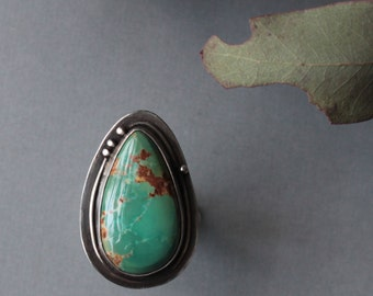 Sterling Silver and real American Turquoise Cocktail Ring statement ring handmade ring