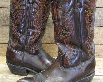 Vintage ACME Men's 9 1/2D Chocolate Brown Leather Rainbow Eagle Stitch Cowboy Western Boots