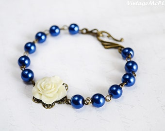 Royal Blue Bracelet, Bridesmaids Bracelet, Flower Girl Gift, Ivory Flower Bracelet, Shabby Chic Jewelry, Flower Girl Gifts, Infant Bracelet