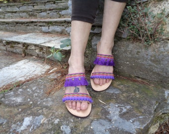"Greek Leather Sandals ""Ianthe"", Boho sandals, pom pom sandals, colorful hippie sandals, Purple Violet sandals, women sandals shoes"