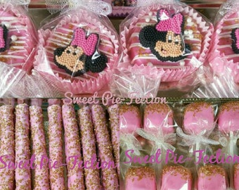 Minnie Mouse Dessert Station, Party Pack, Party in a box - Minnie Mouse Oreos, Minnie Pretzels, Minnie Marshmallows 12 ea.