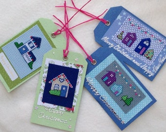 Christmas Cross Stitch Gift Tags Christmas Houses- Pack of 4