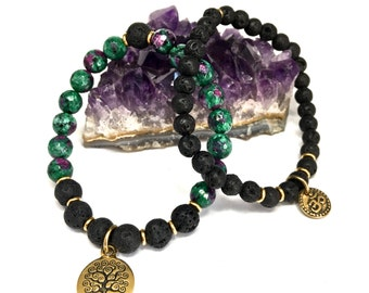 Ruby Zoisite / Lava Stone Stretch Bracelet Set
