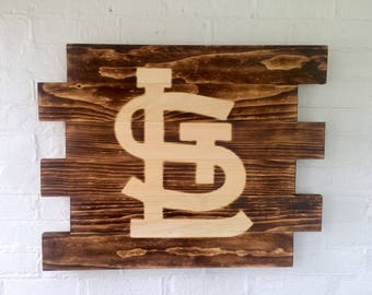 St. Louis Cardinals baseball rustic wood sign