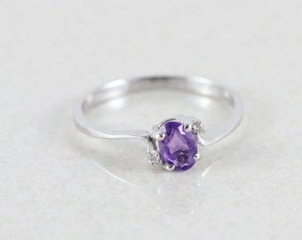 14k White Gold Amethyst & Diamond Ring Size 7 1/2