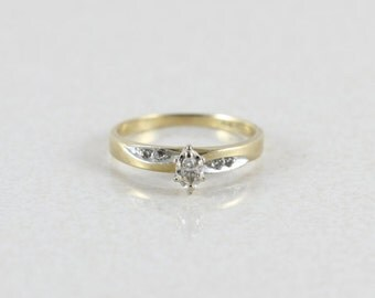 14k Yellow Gold Diamond Ring Marquise Diamond Size 7 3/4