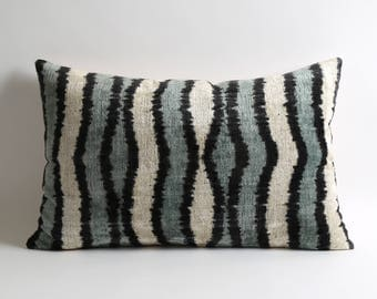 Black Gray White ikat silk velvet pillow cover 15x23 inch Gray black pillows Luxury handwoven hand-dyed ikat pillow