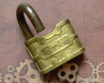 "Curious Heavy Brass Antique ""Butt-In"" Padlock and Key. Vintage Novelty Lock. Functional with 1 Working Key"