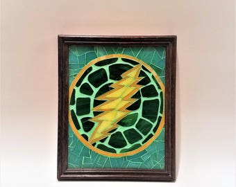 Grateful Dead Bolt Terrapin Turtle Mosaic Picture, 13 Point Bolt, Grateful Dead Art, Hippie Wall Art, Deadhead Gift Idea, Colorful Glass Art