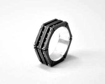 "Sterling Silver Industrial Ring ""Principendum"" 