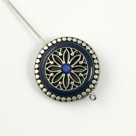 1 Metal Bead Blue Enamel And Silve Tone 25mm Con047 From