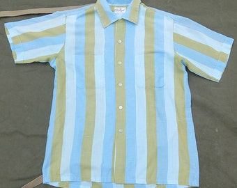 50s Vintage Donegal Stripe Short Sleeve Loop Collar Button Up Shirt Size L