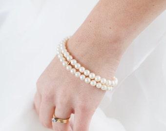 Something Old Bracelet, Two Stranded Vintage Pearl Bracelet, Antique Pearl Bracelet, Heirloom Bracelet, Bridal Bracelet, Vintage Pearls