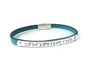 Personalized Coordinate Bracelet, Custom Coordinates Silver Leather Bracelet, Latitude Longitude Bracelet, Gift for Her, Wedding Gift Idea