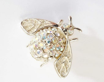 Vintage Bumble Bee rhinestone brooch | numbered pin