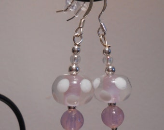 Light Pink Glass Bead Earrings Item No. 82