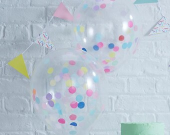 Confetti Filled Balloons | 5 Pack | Confetti Party | Confetti Balloons | Colourful Balloons | Wedding | Party | Celebration Balloons