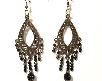 Victorian Steampunk Chandelier Earrings, Steampunk Jewelry, Bronze and Black Crystal Beads, Steam punk Earrings