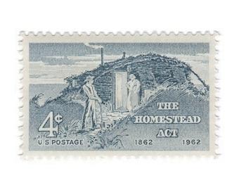 10 Unused Vintage Postage Stamps - 1962 4c Homestead Act - Item No. 1198
