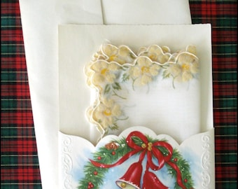 Christmas Card with Handkerchief Gift - Vintage Estate Linen by Treasure Masters - Unused Card, Envelope and Hanky