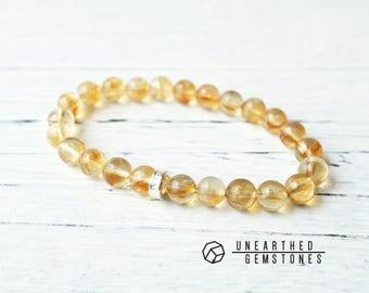 Genuine Citrine Bracelet - November Birthstone Bracelet, Birthstone Jewellery, Yellow Citrine Jewelry, Gold Bracelet