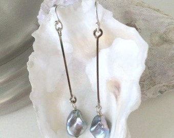 Long Pearl Earrings-Gift Wife Earrings-Sexy Jewelry For Me-Thin Silver Earrings-Wife Pearl Jewelry-Her Pearl Earrings-Long Thin Earrings-Bff
