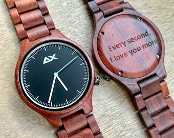 Wooden Watch, Rosewood, Engraved Wooden Watch, Gift for him, Wood Watch, Wedding Gift, Anniversary Gift, Groomsmen Gift, Mens Watch